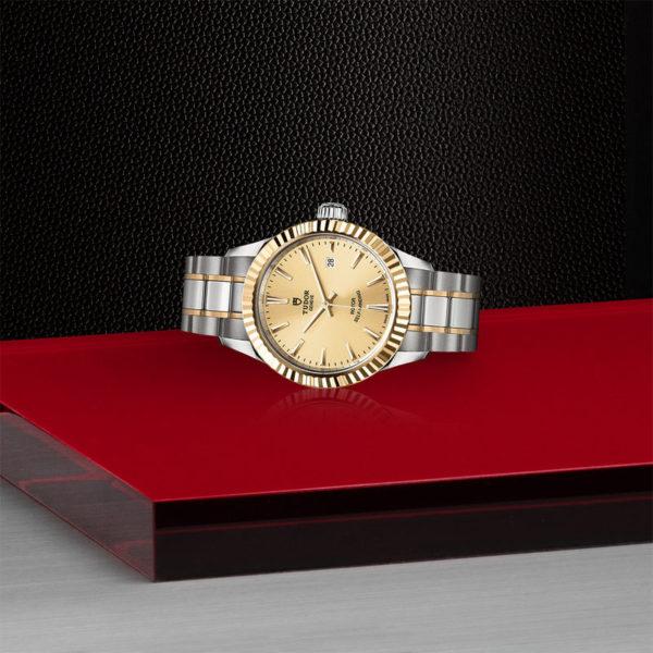 Relógio TUDOR Style com Caixa em aço, 28 mm, luneta em ouro amarelo. Disposição de loja, deitado.