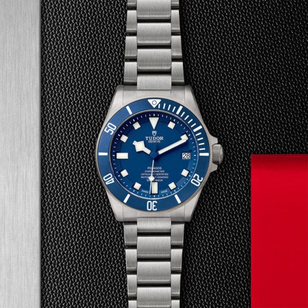 TUDOR Pelagos Watch with Ceramic matt blue disc, titanium bracelet. In store flat lay.