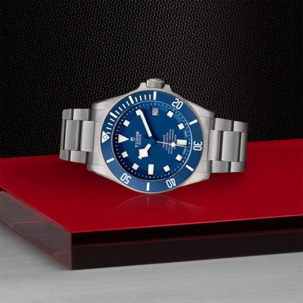 TUDOR Pelagos Watch with Ceramic matt blue disc, titanium bracelet. In store laying down.