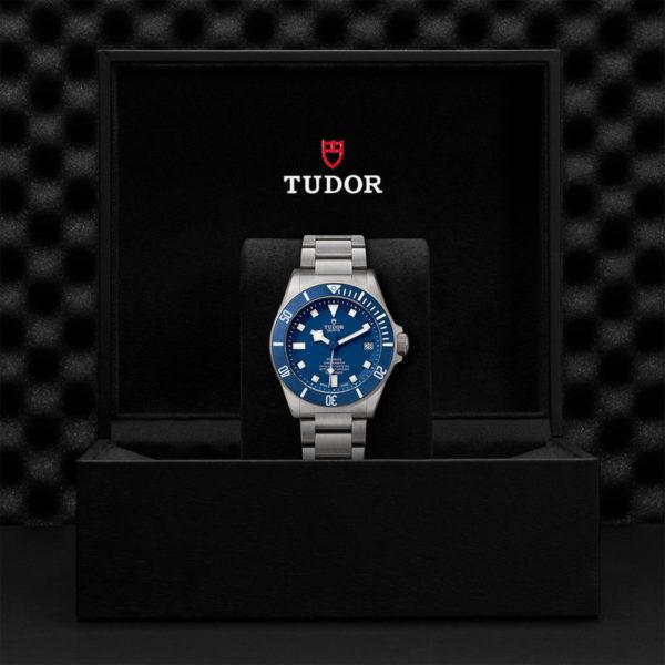TUDOR Pelagos Watch with Ceramic matt blue disc, titanium bracelet. In presentation box.
