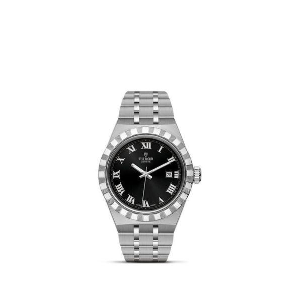 Relógio TUDOR Royal com Caixa em aço, 28 mm, mostrador preto. Disposição vertical, fundo branco.