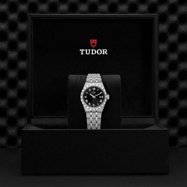 Relógio TUDOR Royal com Caixa em aço, 28 mm, mostrador preto. Disposição em caixa de marca.