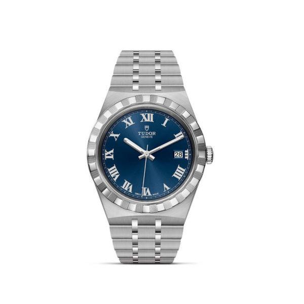 Relógio TUDOR Royal com Caixa em aço, 38 mm, mostrador azul. Disposição vertical, fundo branco.
