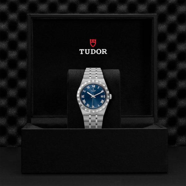 Relógio TUDOR Royal com Caixa em aço, 38 mm, mostrador azul. Disposição em caixa de marca.