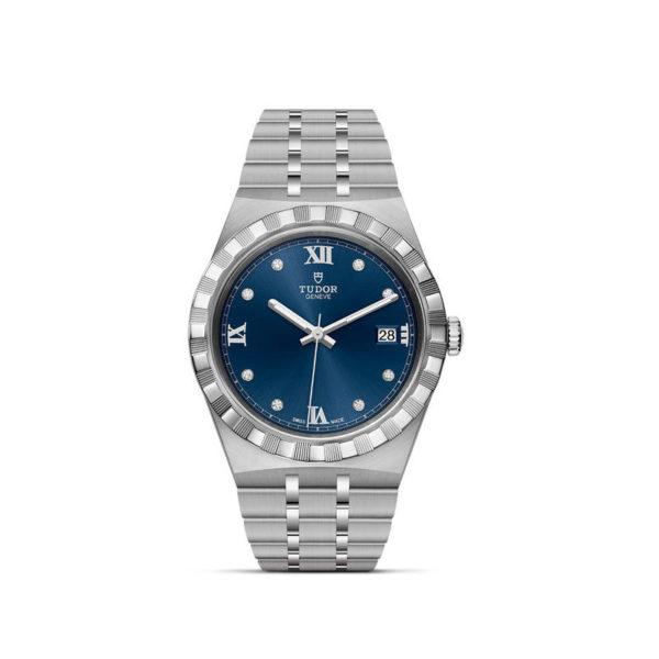 Relógio TUDOR Royal com Caixa em aço, 38 mm, mostrador cravejado de diamantes. Disposição vertical, fundo branco.