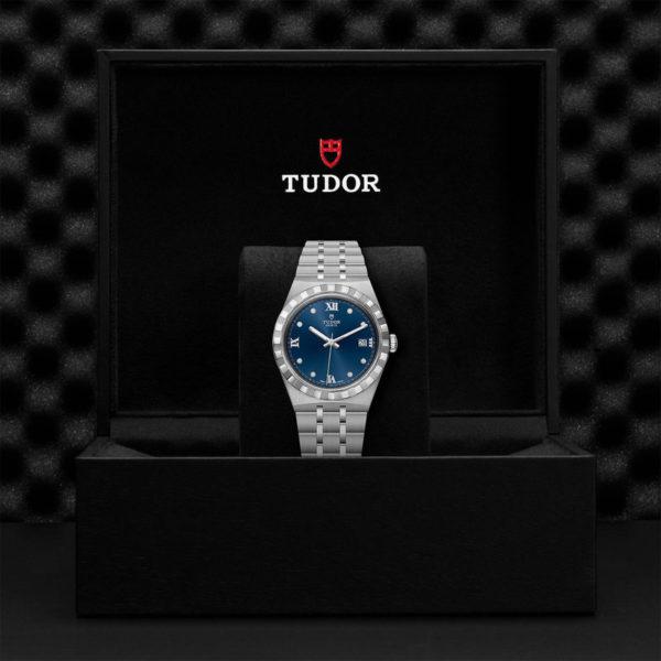 Relógio TUDOR Royal com Caixa em aço, 38 mm, mostrador cravejado de diamantes. Disposição em caixa de marca.