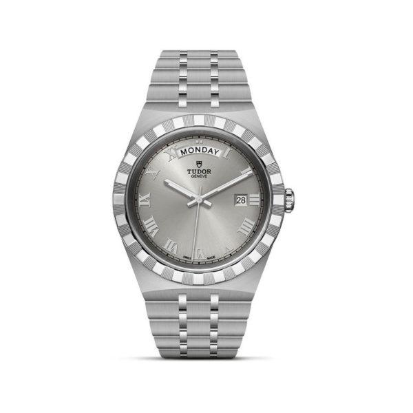 Relógio TUDOR Royal com Caixa em aço, 41 mm, mostrador prateado. Disposição vertical, fundo branco.