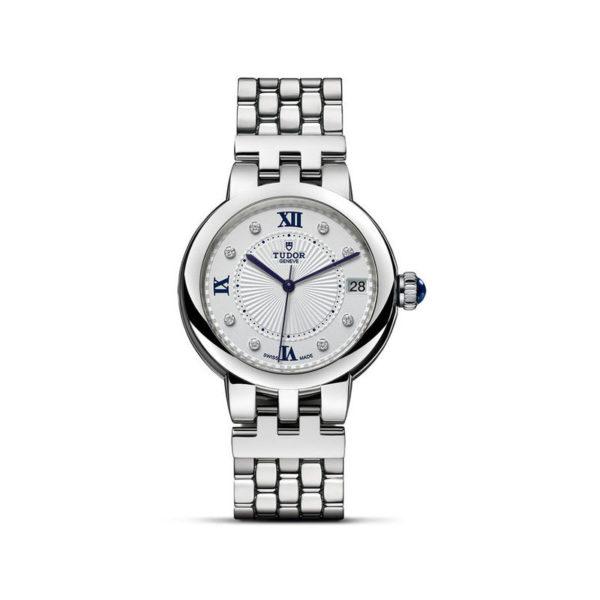 Relógio TUDOR Clair de Rose com Caixa em aço, 34 mm, bracelete em aço. Disposição vertical, fundo branco.