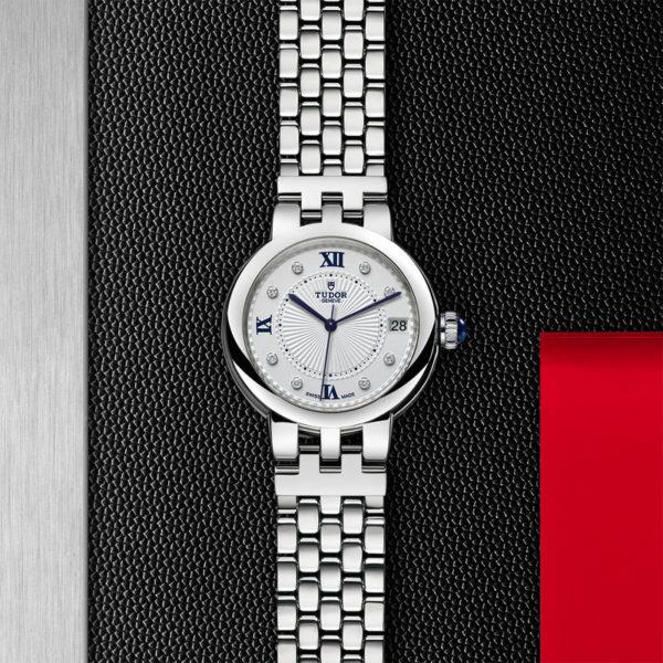 Relógio TUDOR Clair de Rose com Caixa em aço, 34 mm, bracelete em aço. Disposição de loja, estendido.