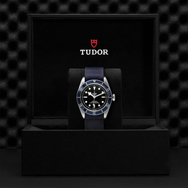 TUDOR Black Bay Watch with 41 mm steel case, blue fabric strap. In presentation box.