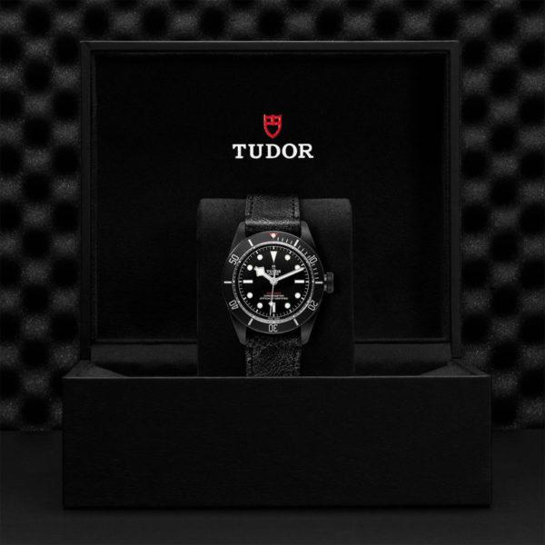TUDOR Black Bay Dark Watch with 41 mm PVD steel case, aged leather strap. In presentation box.