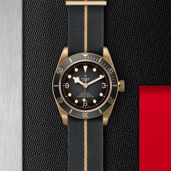 TUDOR Black Bay Bronze Watch with 43 mm bronze case, fabric strap. In store flat lay.