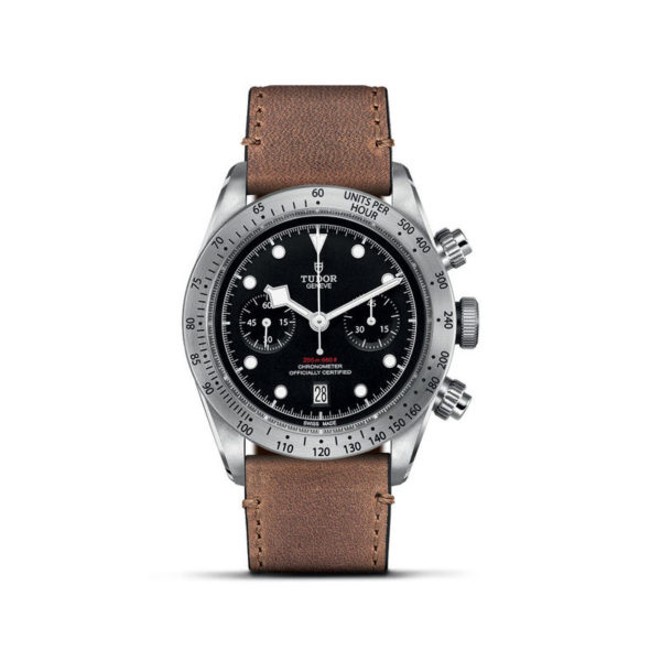 TUDOR Black Bay Chrono Watch with 41 mm steel case, aged leather strap. In upright position, white background.