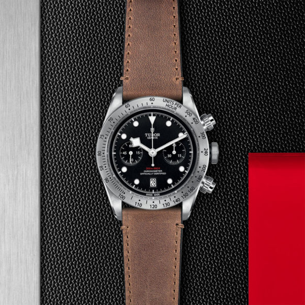 TUDOR Black Bay Chrono Watch with 41 mm steel case, aged leather strap. In store flat lay.