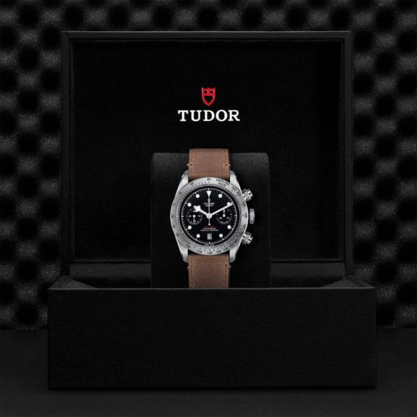 TUDOR Black Bay Chrono Watch with 41 mm steel case, aged leather strap. In presentation box.