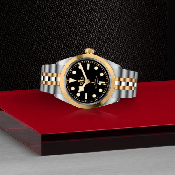 TUDOR Black Bay 36 S&G Watch with 36 mm steel case, steel and gold bracelet. In store laying down.