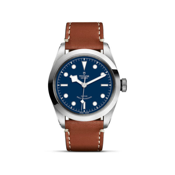 TUDOR Black Bay 41 Watch with 41 mm steel case, brown leather strap. In upright position, white background.