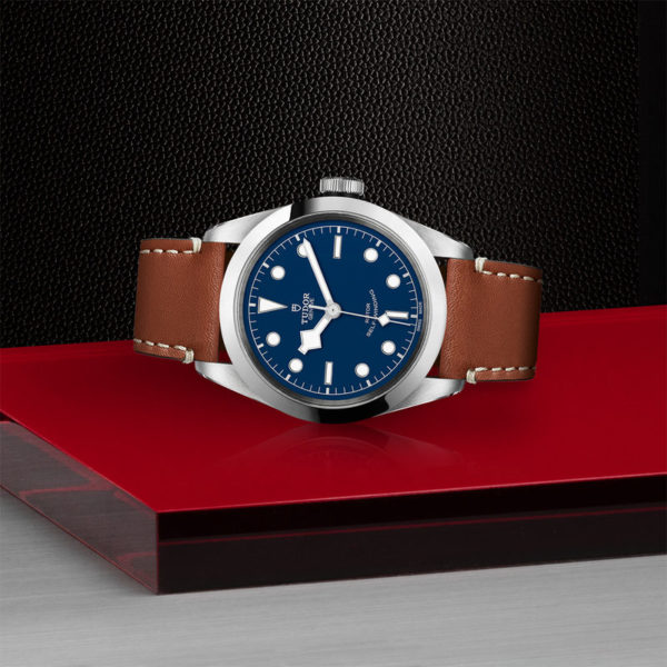 TUDOR Black Bay 41 Watch with 41 mm steel case, brown leather strap. In store laying down.