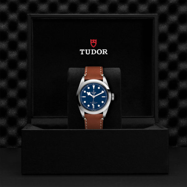 TUDOR Black Bay 41 Watch with 41 mm steel case, brown leather strap. In presentation box.