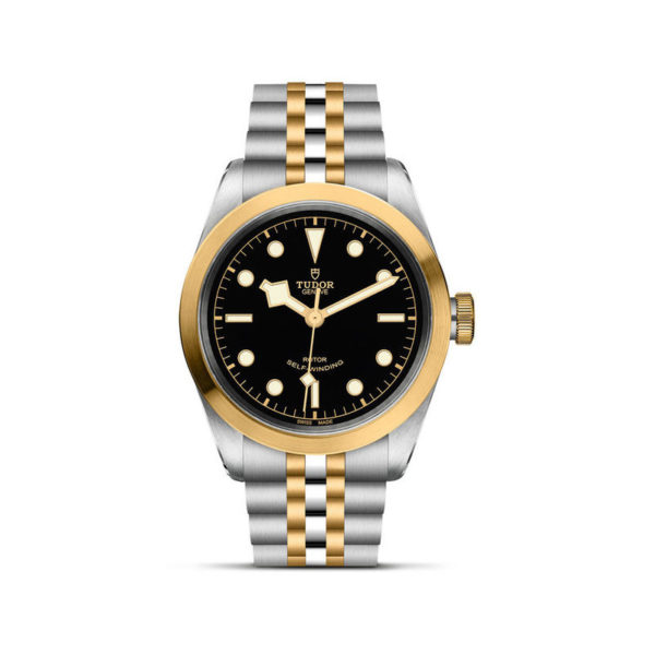 TUDOR Black Bay 41 S&G Watch with 41 mm steel case, steel and gold bracelet. In upright position, white background.