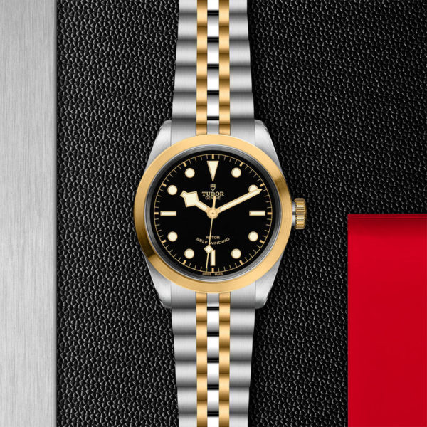 TUDOR Black Bay 41 S&G Watch with 41 mm steel case, steel and gold bracelet. In store flat lay.