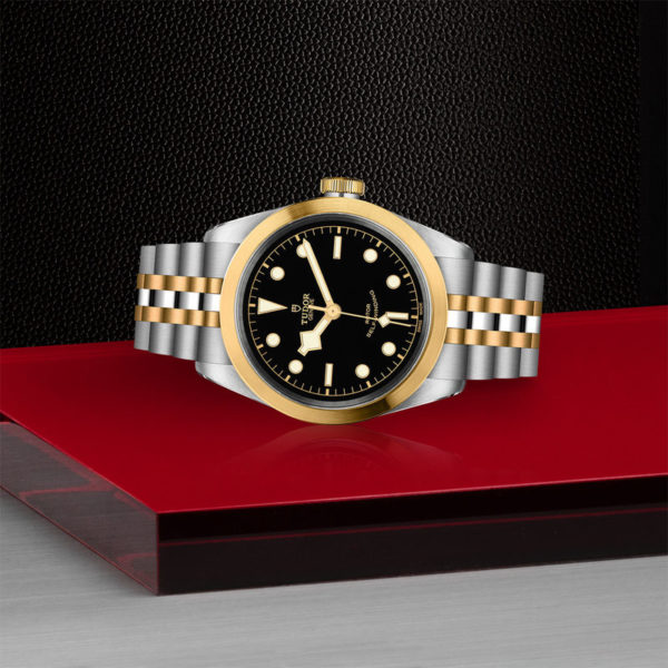 TUDOR Black Bay 41 S&G Watch with 41 mm steel case, steel and gold bracelet. In store laying down.