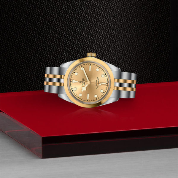TUDOR Black Bay 32 S&G Watch with 32 mm steel case, steel and gold bracelet. In store laying down.