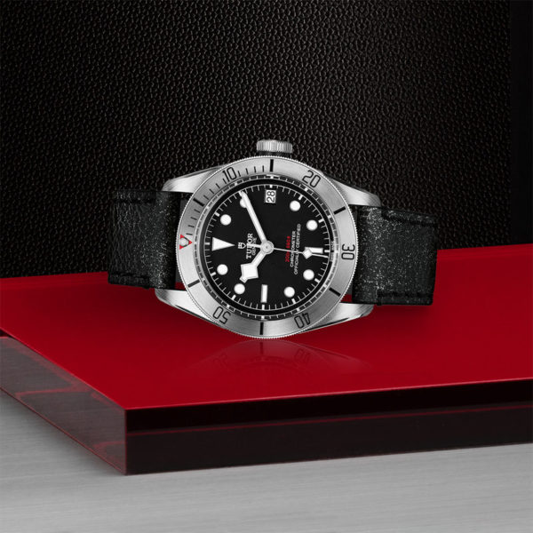 TUDOR Black Bay Steel Watch with 41 mm steel case, aged leather strap. In store laying down.