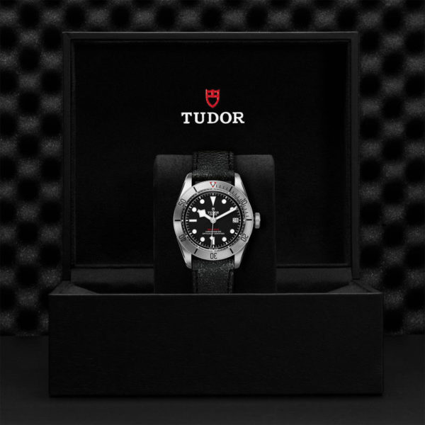 TUDOR Black Bay Steel Watch with 41 mm steel case, aged leather strap. In presentation box.