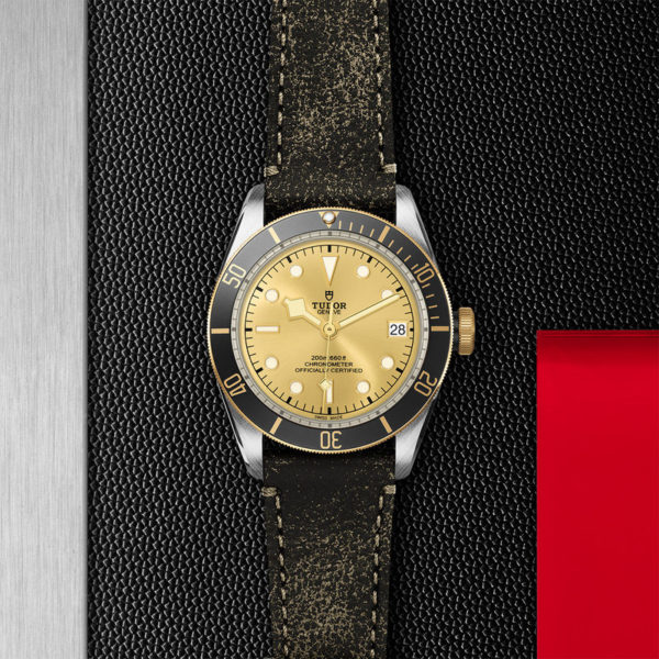 TUDOR Black Bay S&G Watch with 41 mm steel case, aged leather strap. In store flat lay.