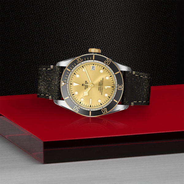 TUDOR Black Bay S&G Watch with 41 mm steel case, aged leather strap. In store laying down.