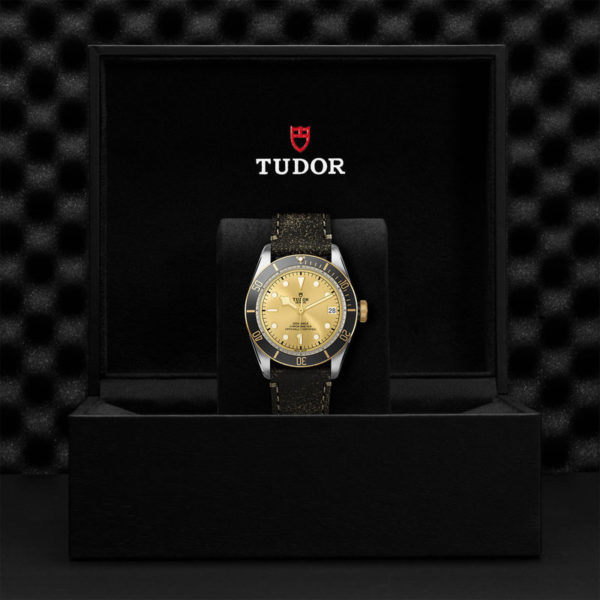 TUDOR Black Bay S&G Watch with 41 mm steel case, aged leather strap. In presentation box.