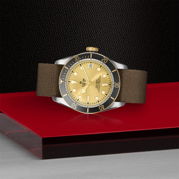 TUDOR Black Bay S&G Watch with 41 mm steel case, fabric strap. In store laying down.