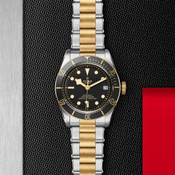 Relógio TUDOR Black Bay S&G com Caixa em aço, 41 mm, bracelete em aço e ouro amarelo. Disposição de loja, estendido.
