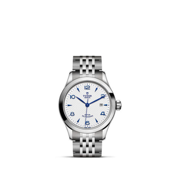 TUDOR 1926 Watch with 28 mm steel case, opaline and blue dial. In upright position, white background.