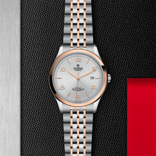 TUDOR 1926 Watch with 41 mm steel case, pink gold bezel. In store flat lay.