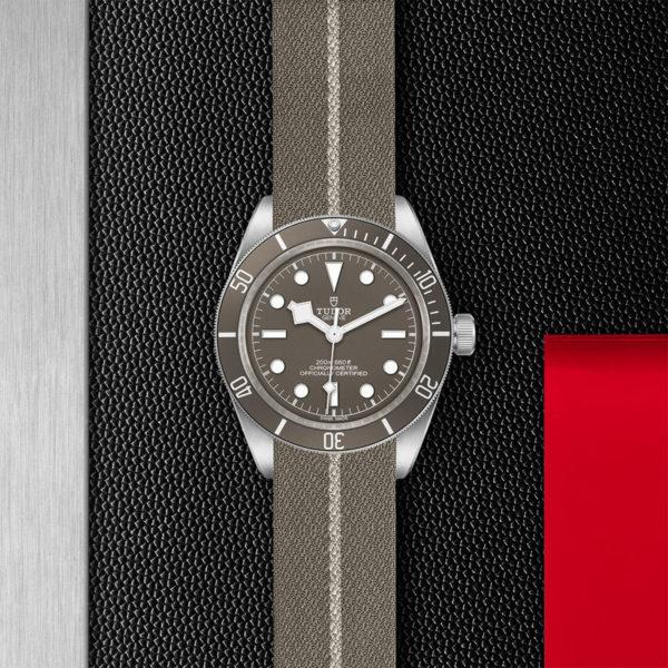 Relógio TUDOR Black Bay Fifty-Eight com Caixa de 39mm prateada, bracelete em tecido castanho e cinzento. Disposição de loja, estendido.