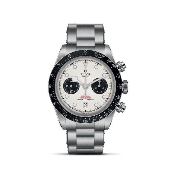 Relógio TUDOR Black Bay Chrono com Caixa em aço, 41 mm, bracelete em aço. Disposição vertical, fundo branco.