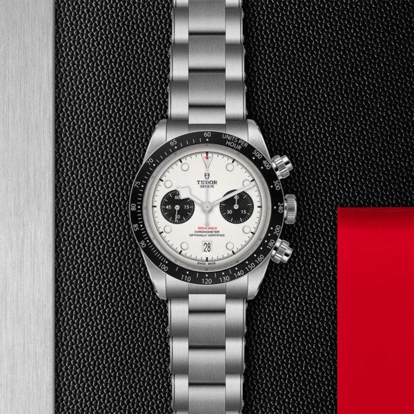 Relógio TUDOR Black Bay Chrono com Caixa em aço, 41 mm, bracelete em aço. Disposição de loja, estendido.