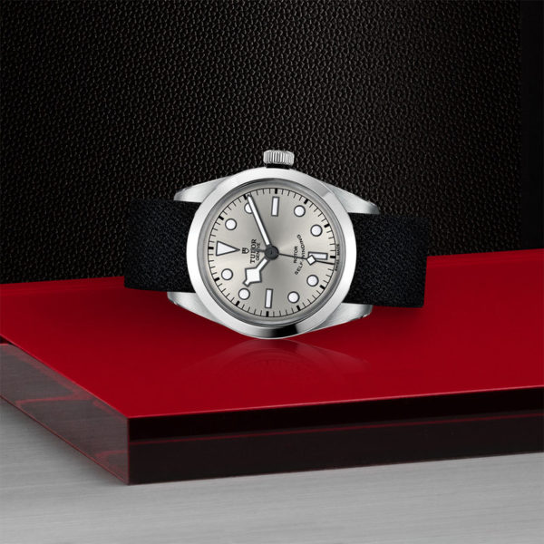 TUDOR Black Bay 36 Watch with 36 mm steel case, Black fabric strap. In store laying down.