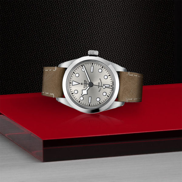 TUDOR Black Bay 36 Watch with 36 mm steel case, Beige leather strap. In store laying down.