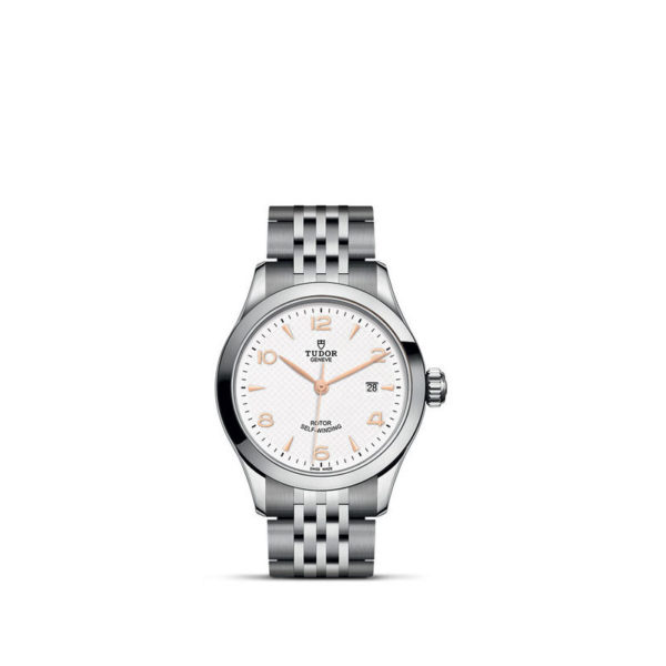 TUDOR 1926 Watch with 28 mm steel case, White dial. In upright position, white background.