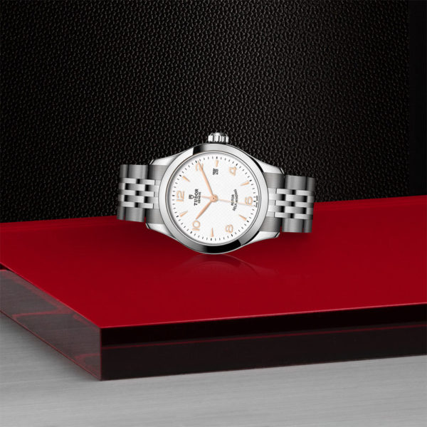 TUDOR 1926 Watch with 28 mm steel case, White dial. In store laying down.