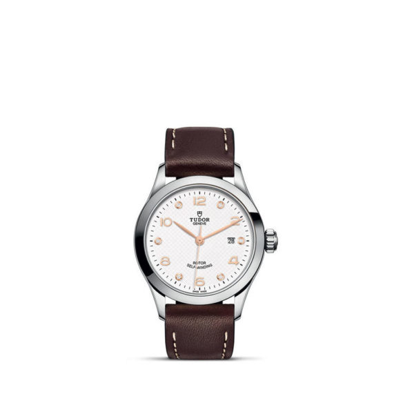 TUDOR 1926 Watch with 28 mm steel case, White diamond-set dial. In upright position, white background.