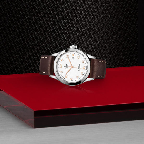 TUDOR 1926 Watch with 28 mm steel case, White diamond-set dial. In store laying down.