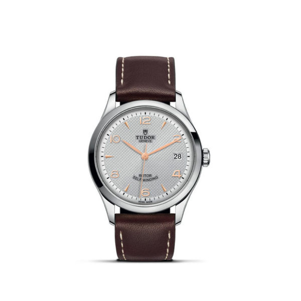 TUDOR 1926 Watch with 36 mm steel case, Silver dial. In upright position, white background.