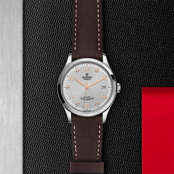 TUDOR 1926 Watch with 36 mm steel case, Diamond-set dial. In store flat lay.