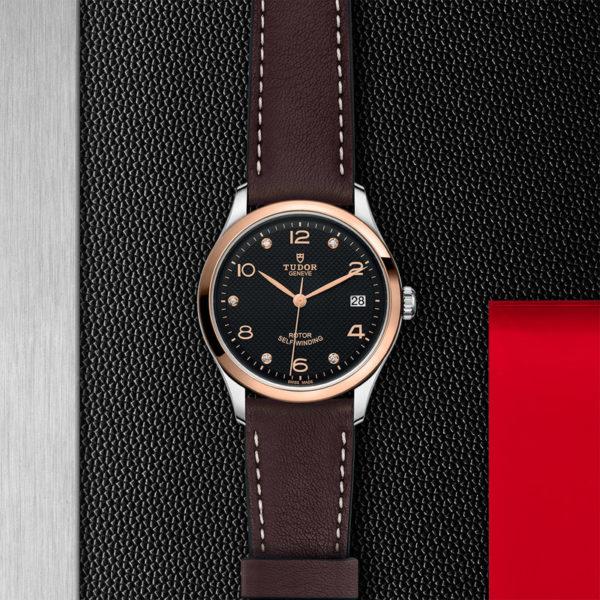 Relógio TUDOR 1926 com Caixa em aço, 36 mm, mostrador cravejado de diamantes. Disposição de loja, estendido.