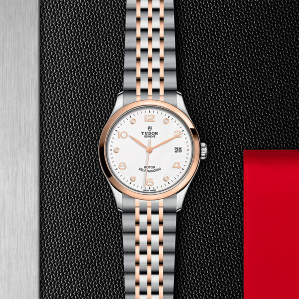 TUDOR 1926 Watch with 36 mm steel case, White diamond-set dial. In store flat lay.