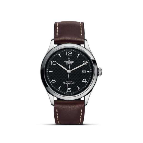 TUDOR 1926 Watch with 39 mm steel case, Black dial. In upright position, white background.